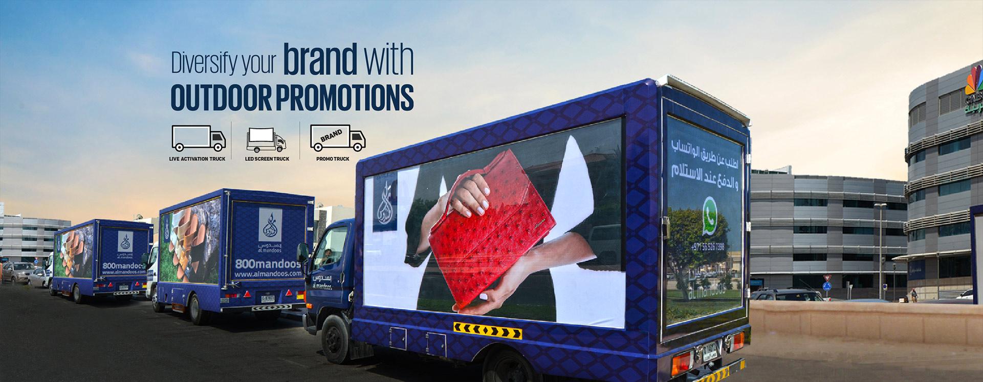Mobile truck advertising in Dubai, UAE